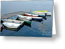 Small Boats Docked To A Pier Greeting Card