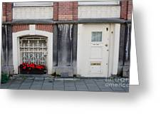 Small Door And Flower Box  Amsterdam Greeting Card