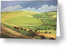 Small Green Valley Greeting Card
