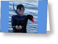 Small Human Meets Black Swan Greeting Card
