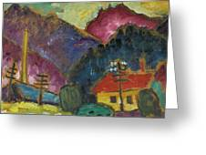 Small Landscape With Telegraph Greeting Card