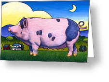 Small Pig Greeting Card by Stacey Neumiller