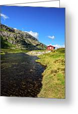Small Red Cabin In Norway Greeting Card
