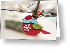 Small Red Handicraft Bird Hanging On A Wire Greeting Card