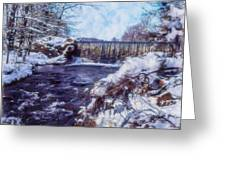 Small Stream, Snowy Scene And Waterfalls. Greeting Card