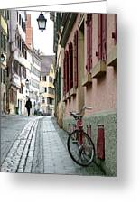 Small Street In Tubingen. Greeting Card