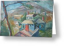 Small Town On A Mountain Greeting Card