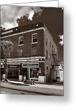 Small Town Shops - Sepia Greeting Card