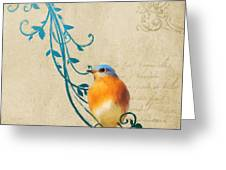 Small Vintage Bluebird With Leaves Greeting Card