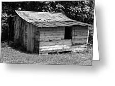Small White Barn B W Greeting Card