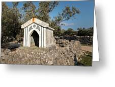 Small White Chapel On A Stone Wall Near Cres Greeting Card