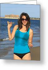 Smiling Hottie At The Beach Greeting Card