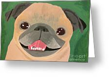 Smiling Senior Pug Greeting Card