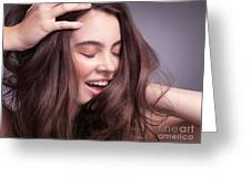 Smiling Young Woman With Long Brown Hair Greeting Card