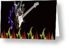 Smoking Guitar Greeting Card