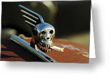 Smoking Skull Hood Ornament Greeting Card