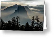 Smoky Dawn At Yosemite Greeting Card