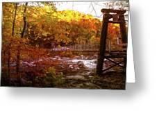 Smoky Mountain Suspension Bridge Oil Painting Greeting Card