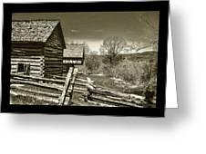 Smoky Mt Homestead - B W Greeting Card