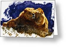 Smooching Lions Greeting Card