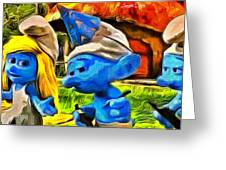 Smurfette And Friends - Pa Greeting Card