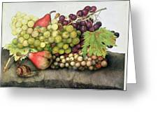 Snail With Grapes And Pears Greeting Card