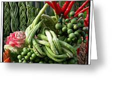 Snake Beans. At The Surin Elephant Greeting Card