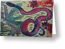 Snake In The Garden Greeting Card