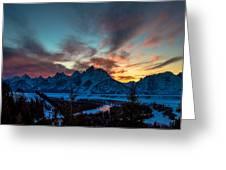Snake River And Tetons At Sunset Greeting Card
