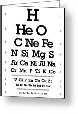 Snellen Chart - Chemical Abundance In Universe Greeting Card