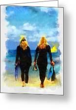 Snorkeler Twins  Greeting Card