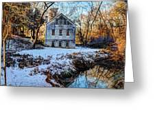 Snow Along Creek Greeting Card