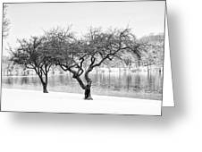 Snow Along The Schuylkill River Greeting Card