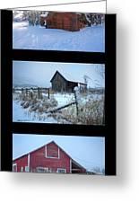 Snow And Barn Trio Greeting Card