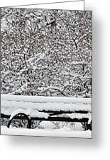 Snow And Bench Greeting Card