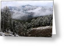 Snow And Clouds In The Mountains Greeting Card