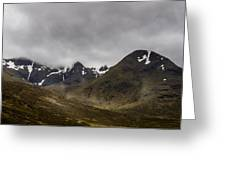 Snow And Fog Over Glengo Mountain In Scotland. Greeting Card
