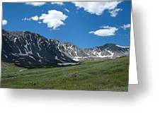Snow And Mountains And Grass Greeting Card