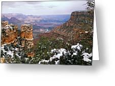 Snow And Pillar - Grand Canyon Greeting Card