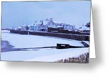 Snow At Cobo Beach Greeting Card
