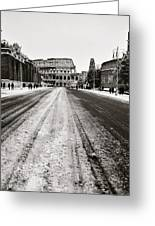 Snow At The Colosseum - Rome Greeting Card