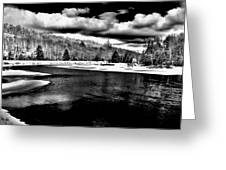 Snow At The River - Bw Greeting Card