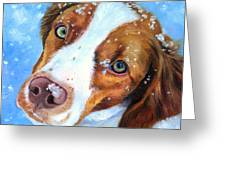 Snow Baby - Brittany Spaniel Greeting Card by Lyn Cook