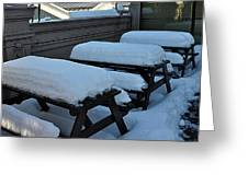 Snow Benches Greeting Card