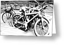Snow Bicycles Greeting Card