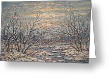 Snow By Brook. Greeting Card