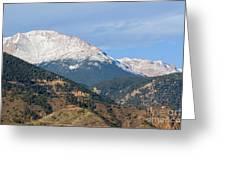 Snow Capped Pikes Peak Colorado Greeting Card