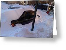 Snow Car Greeting Card