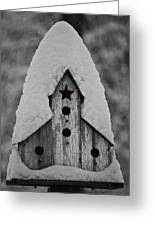 Snow Covered Birdhouse Greeting Card
