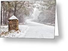Snow Covered Brick Pillar Greeting Card